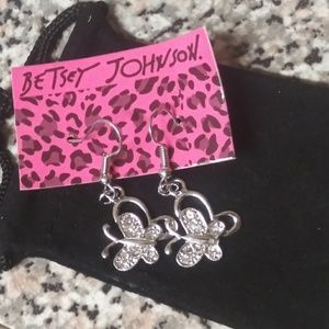 Betsey Johnson Crystal Butterfly Earrings NWT